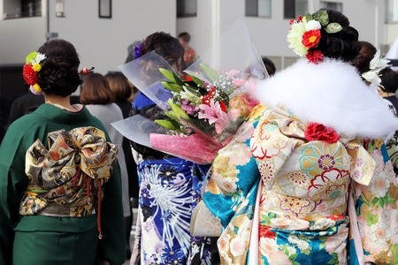 Back view of young Japanese women wearing kimono for the coming of age day celebration