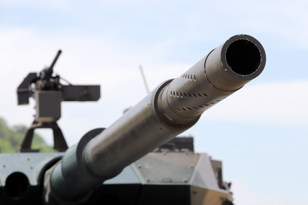 Japanese military cannon of tank with machine gun 報道画像