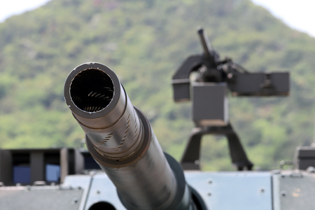Japanese military cannon of tank with machine gun Stok Fotoğraf