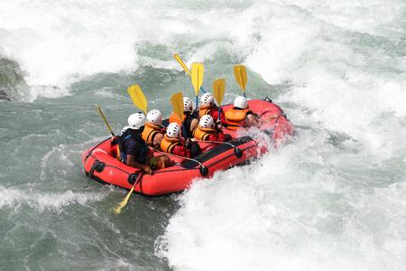 White water rafting on the rapids of river Yosino in Koboke Canyon, Japan. Editorial