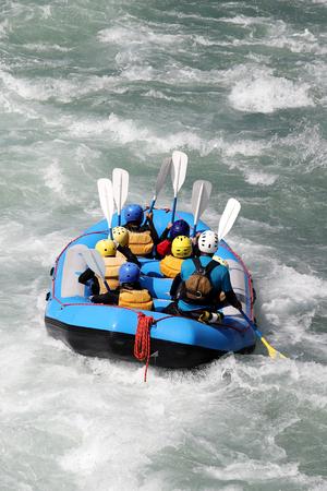 White water rafting on the rapids of river Yosino in Koboke Canyon, Japan.