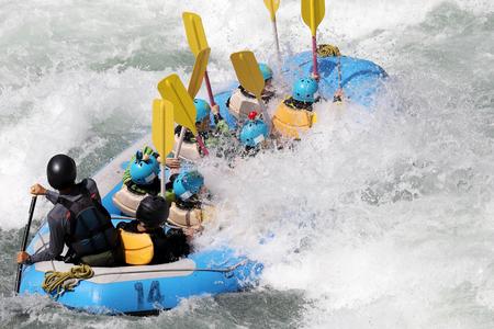 White water rafting on the rapids of river Yosino in Koboke Canyon, Japan. Stock Photo