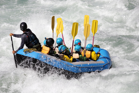 KOBOKE, TOKUSIMA, JAPAN - AUGUST 6, 2018: White water rafting on the rapids of river Yosino on August 6, 2018 in Koboke Canyon, Japan. Yosino River is one of the most popular among rafters in Japan. 報道画像
