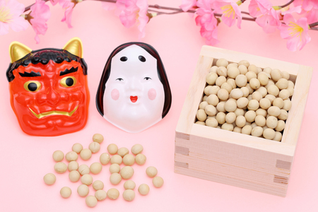 Japanese traditional event, the soybeans are used on an annual event Setsubun. Reklamní fotografie