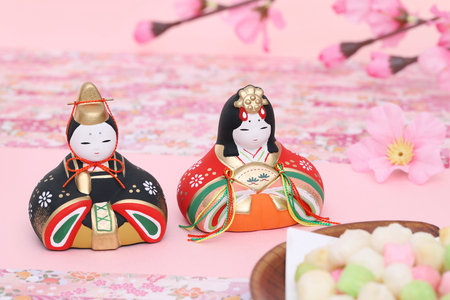 Traditional Japanese dolls used for a festival for girls Imagens