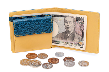 Leather wallet and ten thousand japanese yen