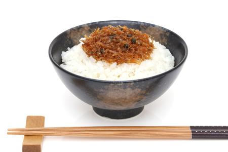 Japanese food, Tsukudani of chirimen jako on cooked white rice 写真素材