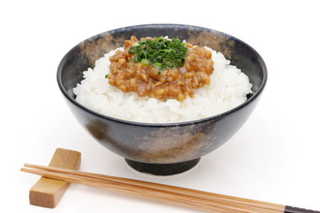 Japanese cooked white rice with Moromi miso on white background