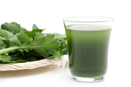 Glass of green vegetable juice, Vegetable juice called