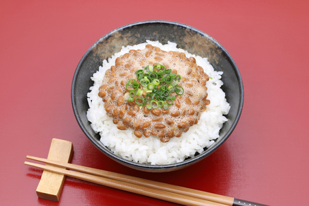 Japanese cooked white rice with Natto