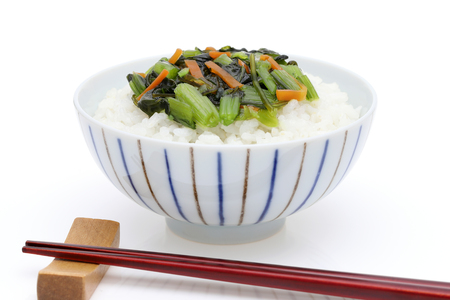 Japanese cooked rice with pickled nozawana