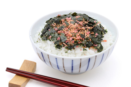Japanese food, cooked rice with furikake of shake and Nori