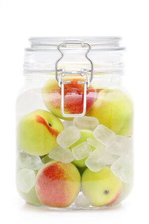 Japanese homemade ume fruit pickles in a Jar