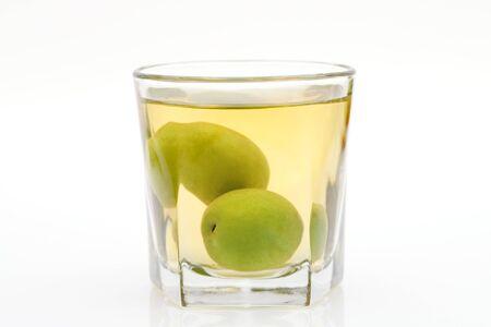 Japanese plum wine called umeshu on white background