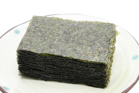 Japanese food, pile of nori dry seaweed sheets