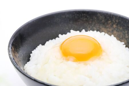Japanese cooked rice with raw egg, Tamago kake gohan Stock Photo