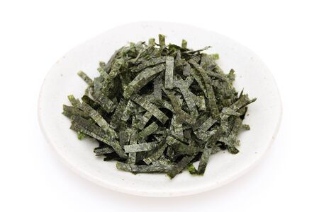 Japanese food, Nori dried seaweed on white background Stock Photo