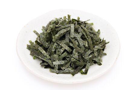 Japanese food, Nori dried seaweed on white background 스톡 콘텐츠