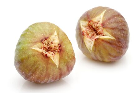 Ripe sweet figs isolated on a white background Stock Photo