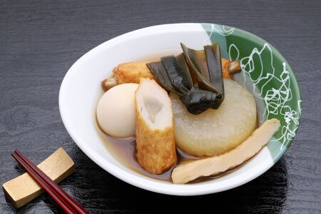 Japanese food, Oden in a bowl on black background