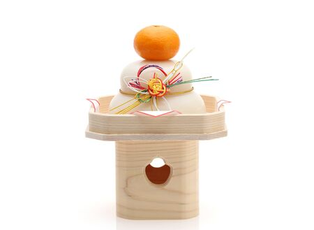Japanese new year decoration Kagamimochi made from rice