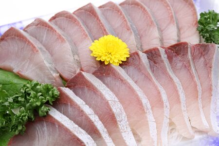 Japanese Seafood, Seafood Sashimi of Hamachi Yellowtail 스톡 콘텐츠