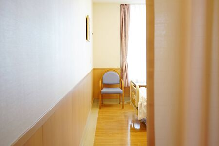 Hospital room with privacy medical curtain in a hospital