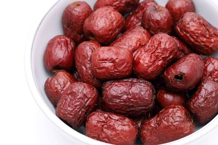 Dried Jujube, Chinese dried red date fruits in a bowl