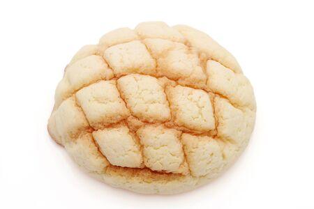 Japanese meronpan bread on a white background Stockfoto