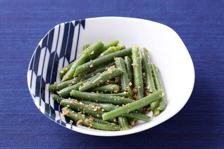 Japanese food, green beans with sesame, ingen mame gomaae