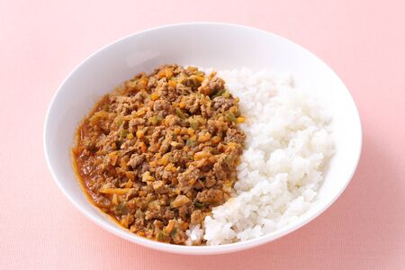 Japanese keema curry rice in a plate