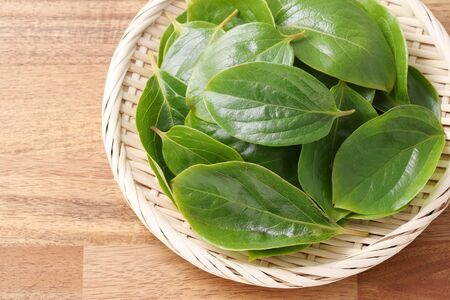 persimmon leaves, herbal medicine in a bamboo basket Stock Photo