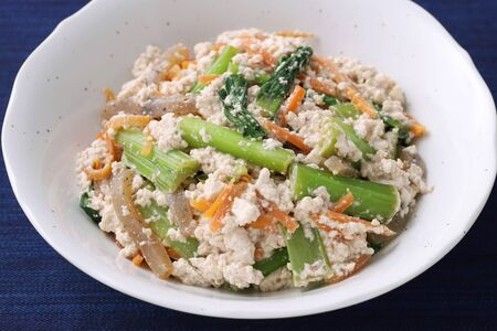 Japanese traditional food, Seasoned of tubu and vegetables, Aemono.