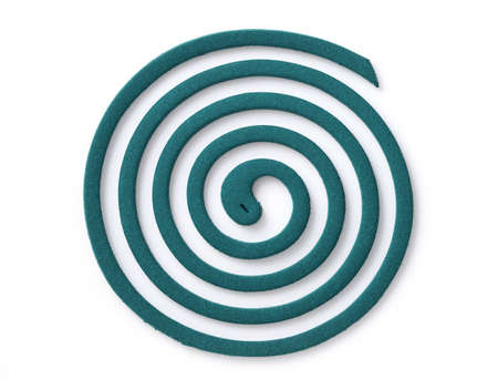 Classic green mosquito coil isolated on white background