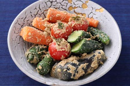 Nukazuke, Japanese traditional food, Vegetables salt pickled tsukemono in a dish Stock Photo