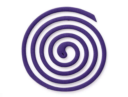 Mosquito coil with the scent of lavender isolated on white background Stock Photo