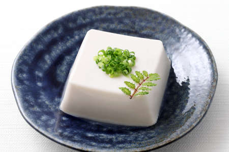 Japanese food, Japanese soft cold tofu in a bowl on white background Stok Fotoğraf
