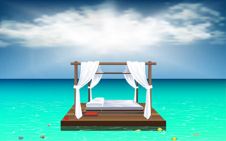 Outdoor cabana bed at the beach