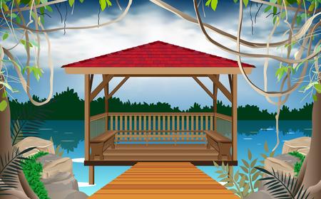 wooden gazebo at the river