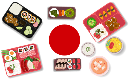 Japanese food in the box Stock Vector - 118828931