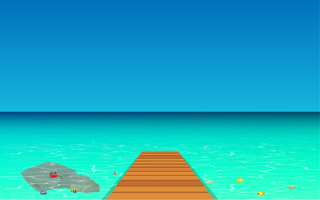 Wood walkways with clear water at the beach Illustration