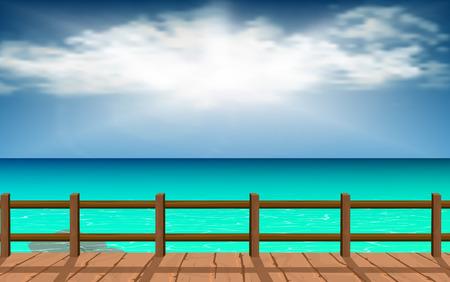Pasarelas de madera con agua clara en la playa.