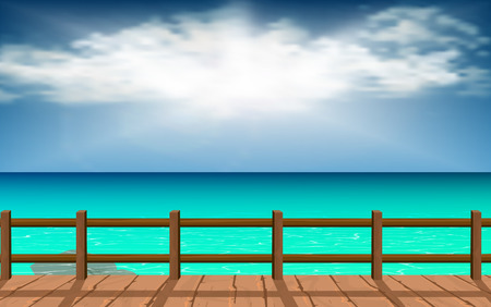 Wood walkways with clear water at the beach  イラスト・ベクター素材