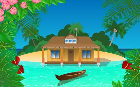 House on the island in the sea
