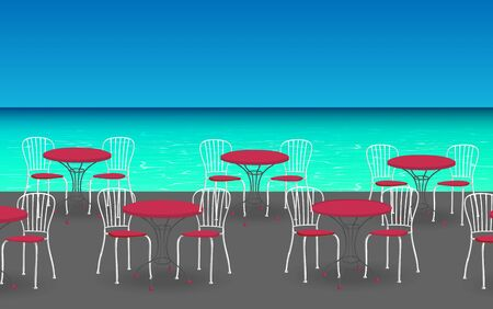 chairs with tables at the outdoor cafe Illustration