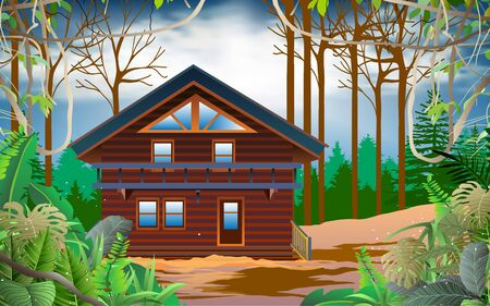 wood house in the jungle