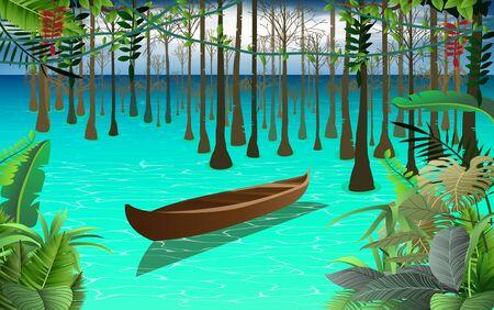 mangrove forest at the sea Ilustração
