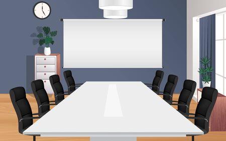 Mesas y sillas en la sala de reuniones Ilustración de vector
