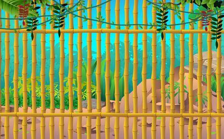 Wall made of bamboo in the jungle Standard-Bild - 127014481