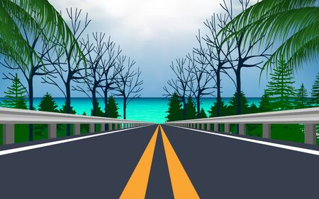 landscape of road to the beach
